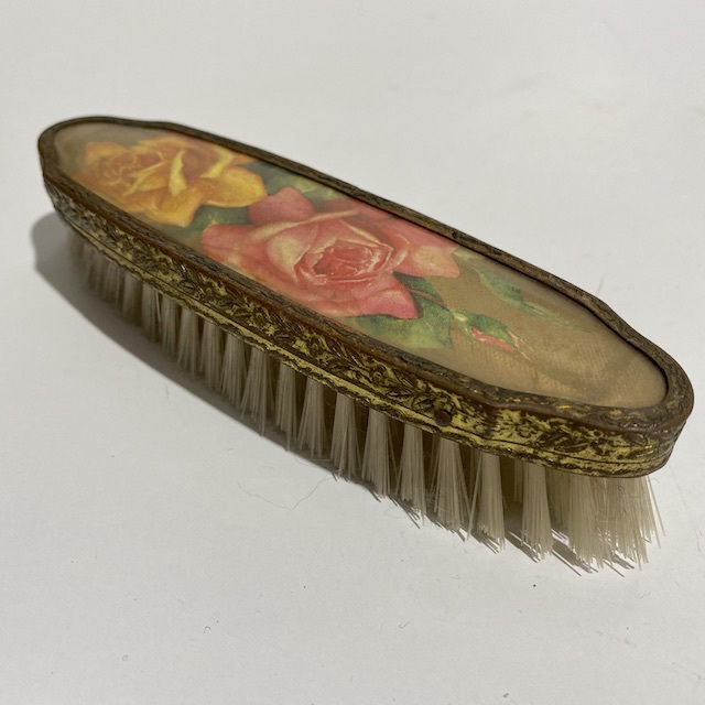 HAI0028 HAIR BRUSH, Vintage Gold w Yellow Pink Rose $7.50