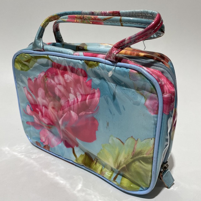 MAK0003 MAKE UP BAG, Pink Blue Floral Travel Wash Bag $6.25