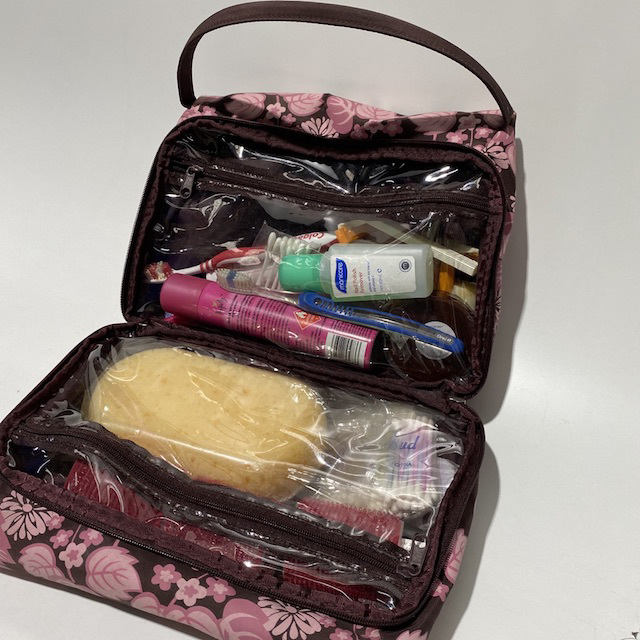 MAK0004 MAKE UP BAG, Pink Brown Floral Travel Wash Bag (Full) $18.75