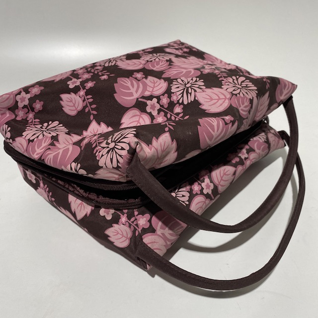 MAK0004 MAKE UP BAG, Pink Brown Floral Travel Wash Bag