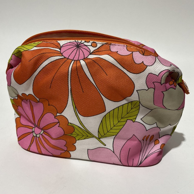 MAK0006 MAKE UP BAG, Travel Toiletry Pink Orange Retro Floral $6.25
