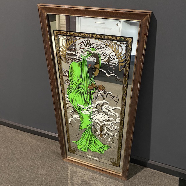 MIR0035 MIRROR, 1970s Art Nouvea Lady in Green Dress $22.50