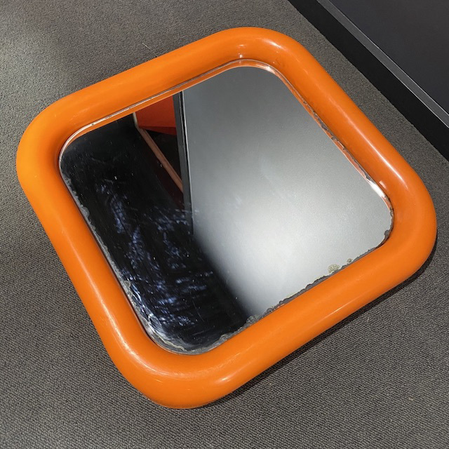 MIR0036 MIRROR, 1970s Orange Moulded Plastic $18.75