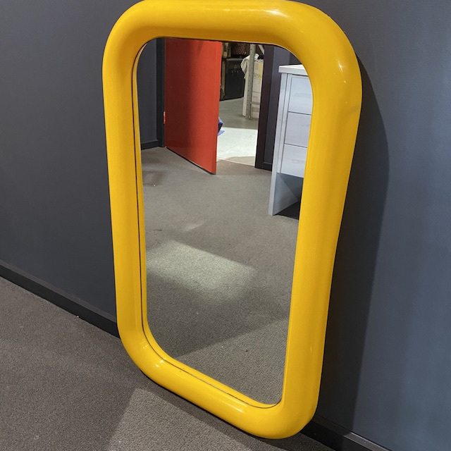 MIR0038 MIRROR, 1970s Yellow Plastic $22.50