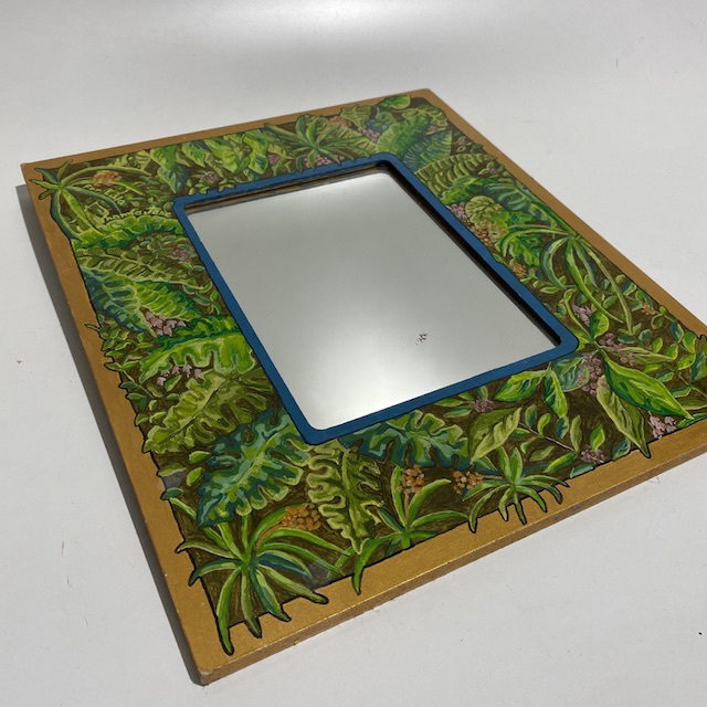 MIR0020 MIRROR, Hand Painted Jungle Frame 35cm $7.50