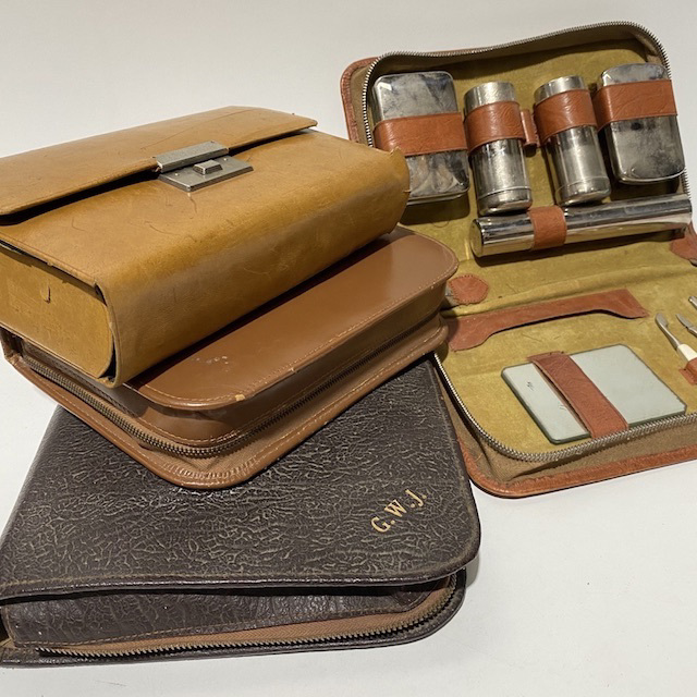 TRA0111 TRAVEL KIT, Men's Toiletry or Grooming Set - Vintage Retro $12.50 Or TRA0108 TRAVEL KIT, Mens Grooming Set - Tan Leather Case $12.50