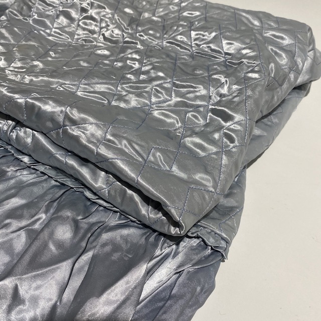 BLA0243 BLANKET, Bedspread - Retro Quilted Silver Blue Satin $20