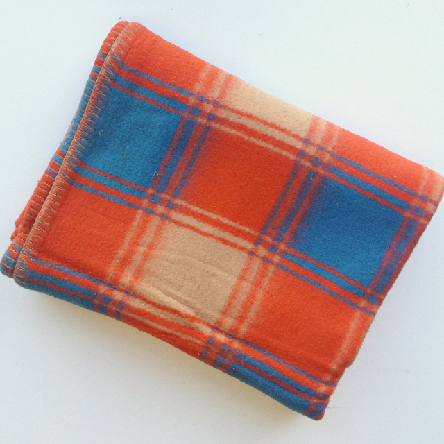 BLA0165, BLANKET, Blue Orange Tartan $12.50