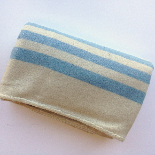 BLA0170, BLANKET, Cream Wool w Blue Stripe $12.50