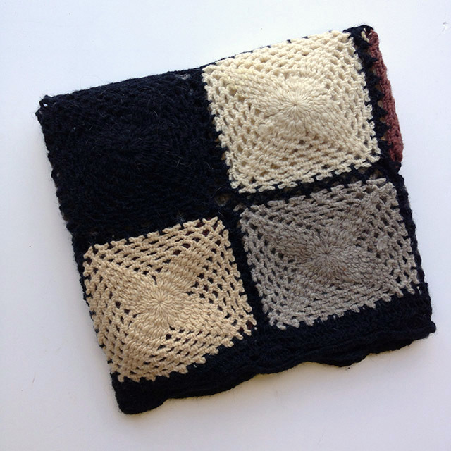 BLA0114, BLANKET (Throw), Crochet 1970 Black Cream Grey Patchwork $18.75
