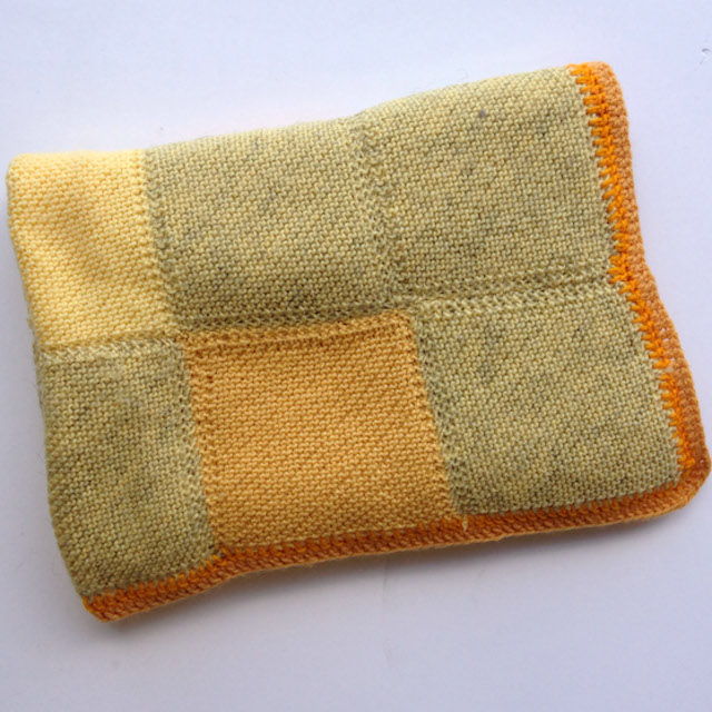 BLA0172 BLANKET, Knitted Yellow Green Patchwork $18.75