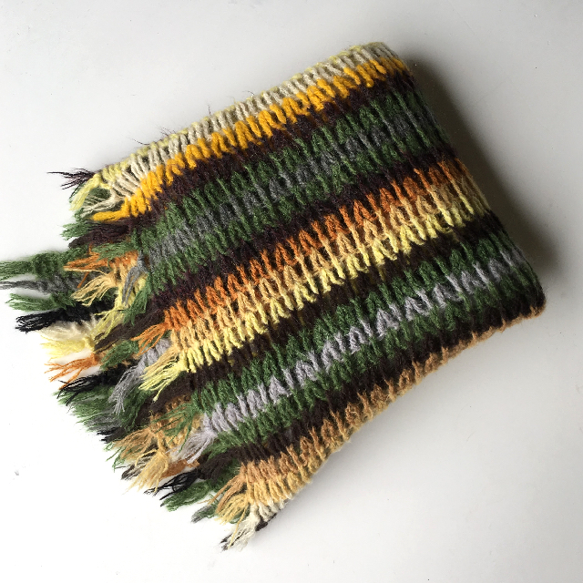 BLA0173 BLANKET, Knitted Yellow Green Stripe $18.75