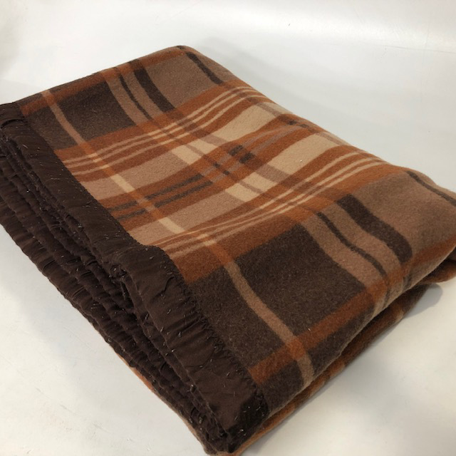 BLA0220, BLANKET, Rust Brown Tartan $12.50