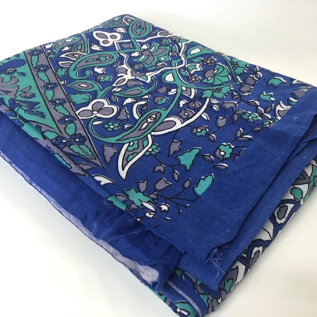 BLA0216, BLANKET, Bedspread - Indian Cotton - Blue Turquoise Print 210 x 225cm $18.75