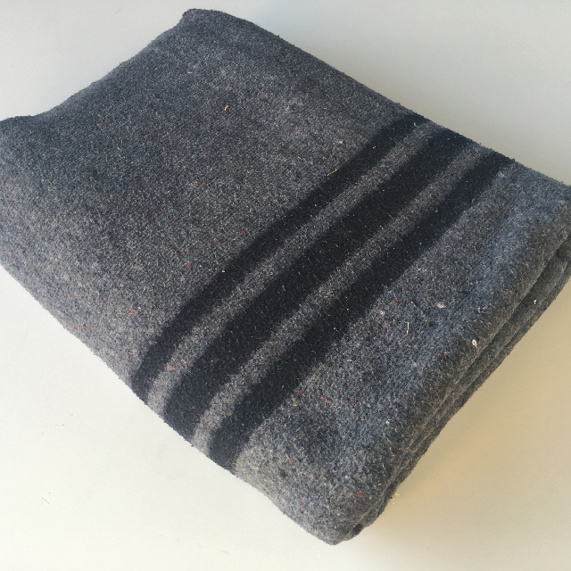 BLA0181, BLANKET, Grey Wool w Navy Stripe $12.50