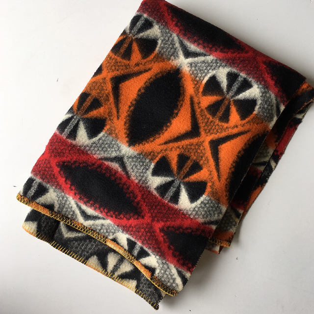BLA0101, BLANKET (Throw), Red Orange Black Mexican $10