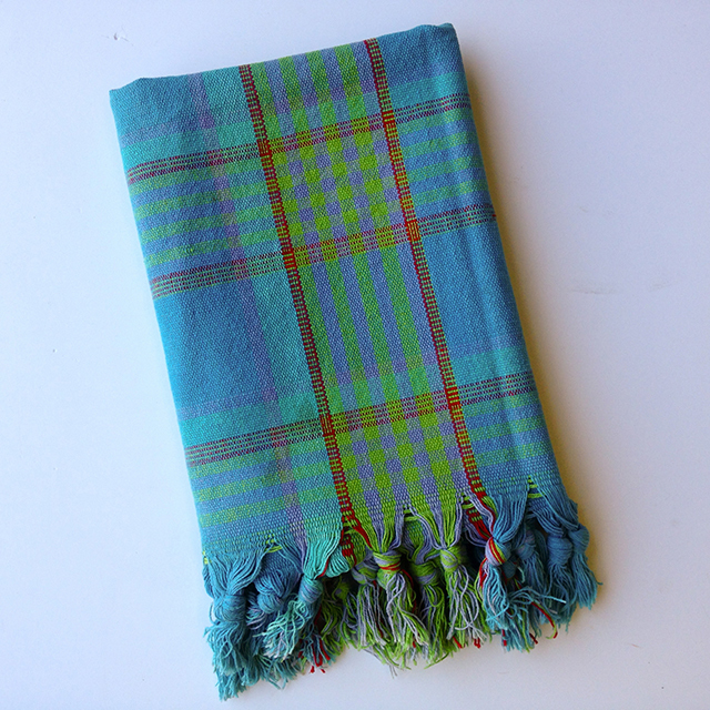 BLA0122, BLANKET, Picnic Blanket - Aqua & Green Cotton $10