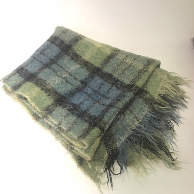 BLA0137, BLANKET, Picnic Blanket - Light Green Blue Tartan Mohair $10