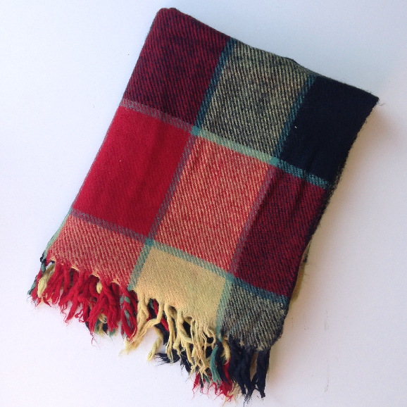 BLA0132 BLANKET, Picnic Blanket - Red Yellow Check Wool $10
