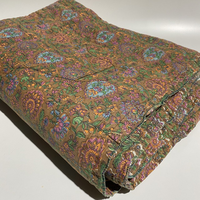 QUI0013 QUILT, Indian Floral Print Brown Orange Green $18.75