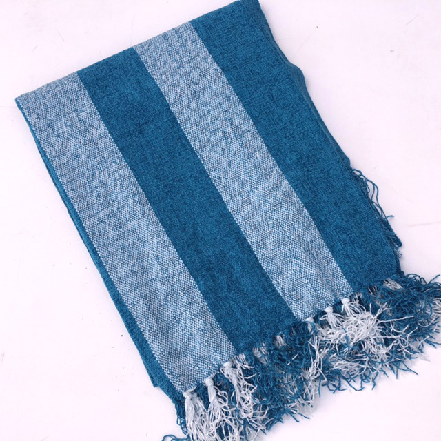 BLA0187, BLANKET (Throw), Blue Cotton Stripe $10