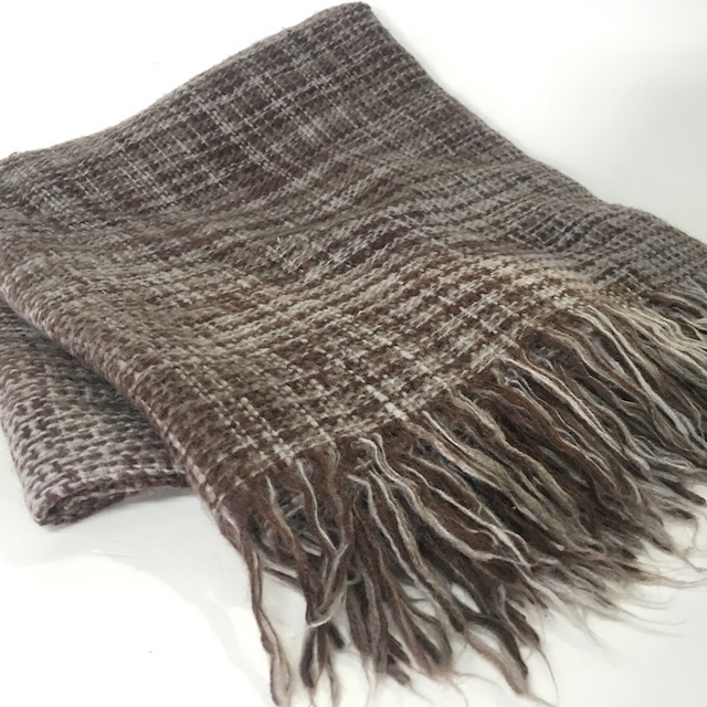 BLA0218, BLANKET, (Throw), Brown Wool Weave $10