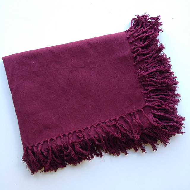 BLA0189, BLANKET (Throw), Burgundy Cotton $10
