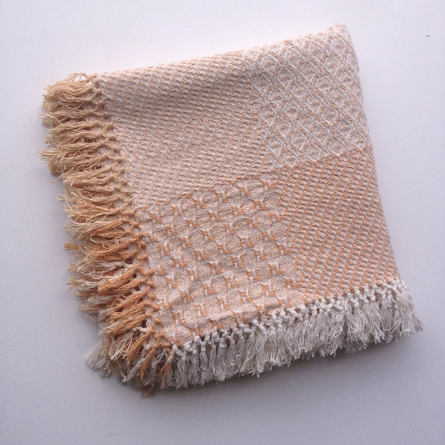 BLA0193, BLANKET (Throw), Cream Tan Cotton Patchwork $10