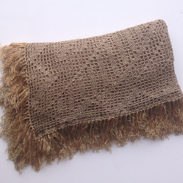 BLA0211, BLANKET (Throw), Vintage Beige Cotton Crochet $22.50
