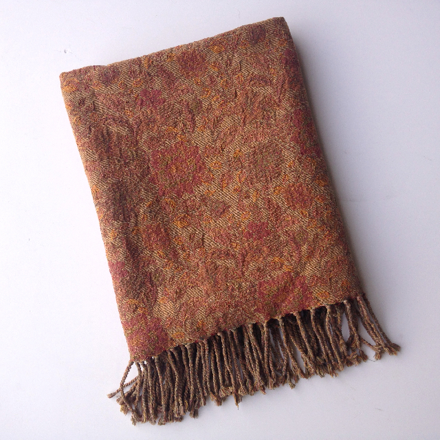 BLA0212, BLANKET (Throw), Vintage Rust Brown Floral $10