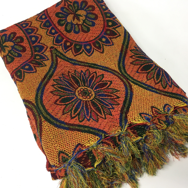 THR0001, THROW RUG, Indian Floral Design - Yellow & Orange $10