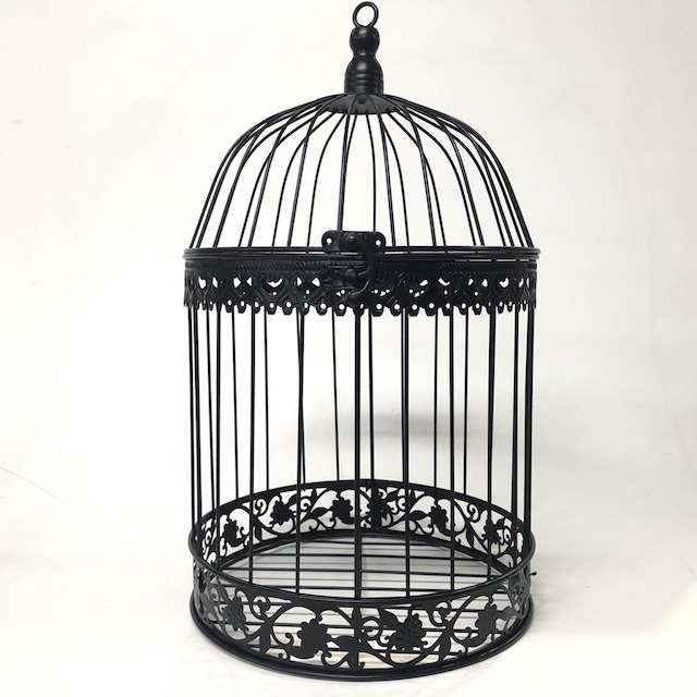 BIR0128 BIRDCAGE, Decorative Black Metal Round - Medium $10