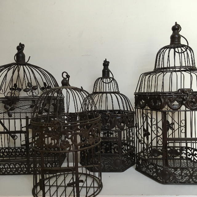 Collection of Decorative Brown Metal Birdcages