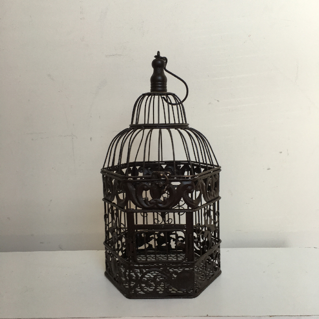 BIR0106 BIRDCAGE, Decorative Brown Metal Octagonal - Small $7.50