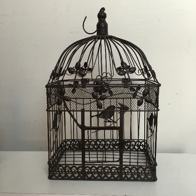 BIR0107 BIRDCAGE, Decorative Brown Metal Rectangular - Large $11.25