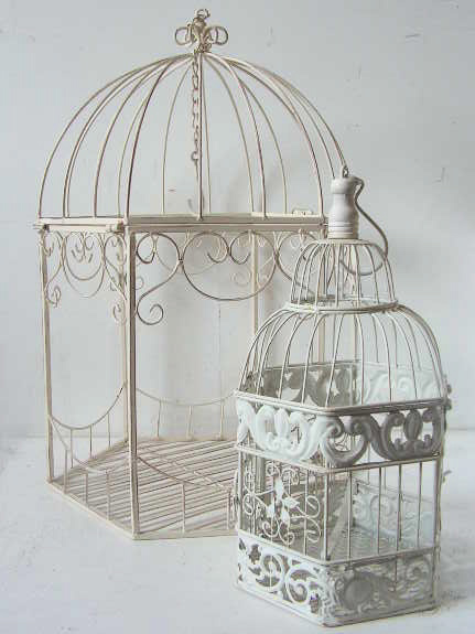BIR0123/4 BIRDCAGE, Antique White Metal - Small & Large $6.25 & $11.25