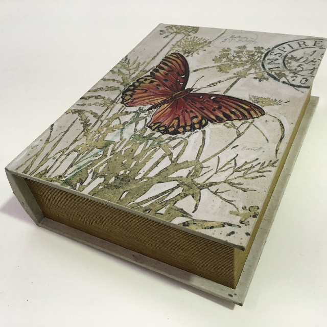 BOO0031 BOOK BOX, Vintage Butterfly Print $6.25