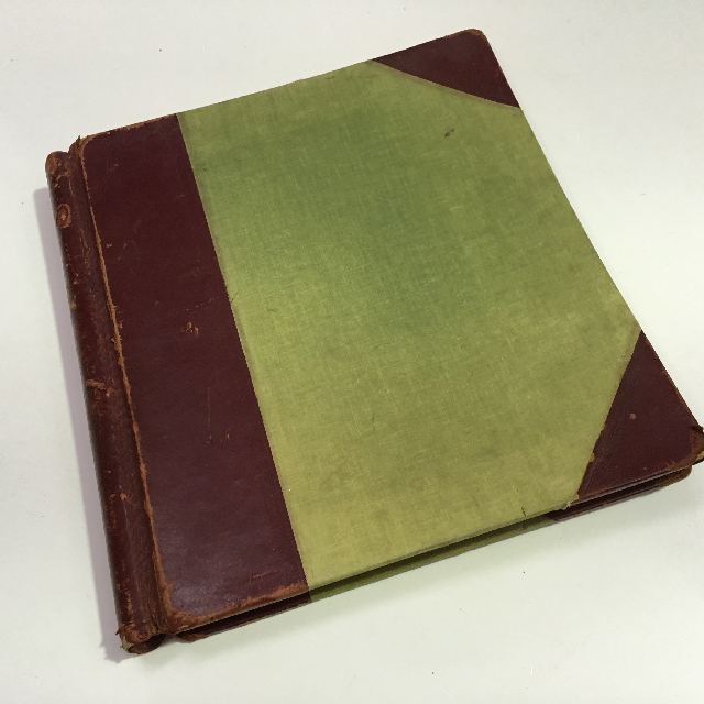BOO0049 BOOK, Large Ledger - Green w Maroon Leather Spine 35cm H $12.50