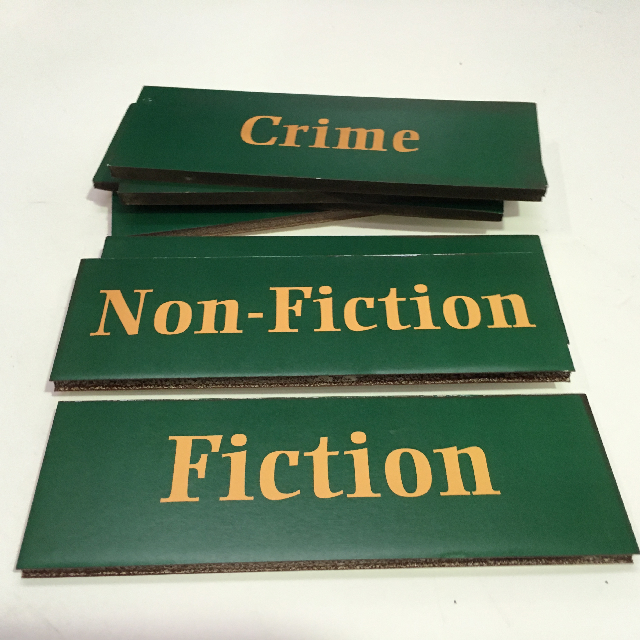 SIG0612 SIGN, Library Or Bookshop - Green 25cm X 8cm $2.50
