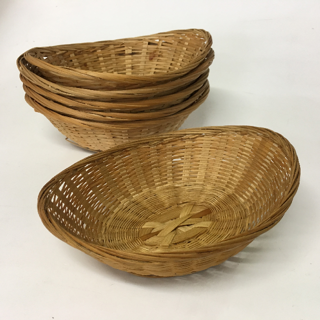 BAS0158 BASKET, Wicker Chip Bowl (Boat) $1.25