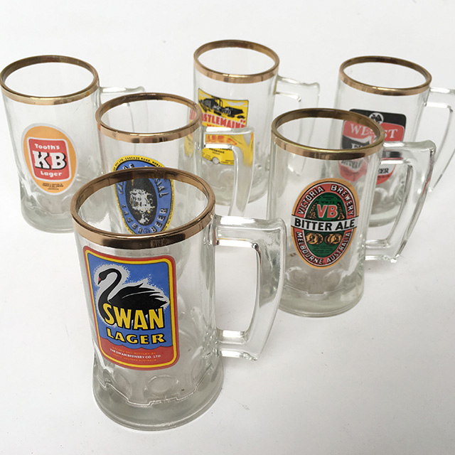 BEE0004 BEER STEIN, Australian Beer Labels - Glass $3