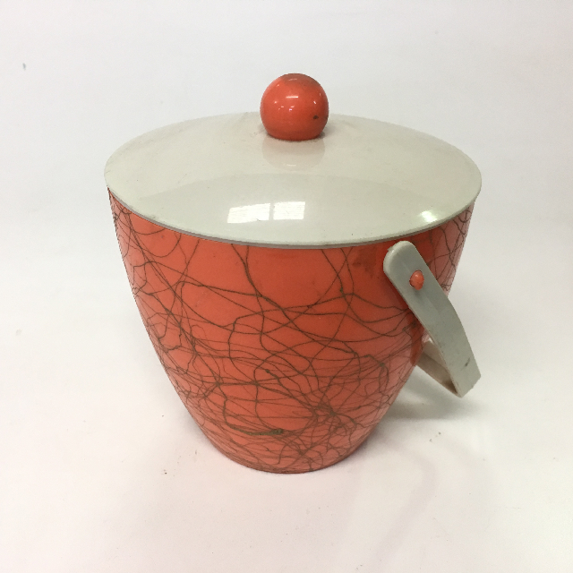 ICE0021 ICE BUCKET, 1950's Orange w White Lid $3.75