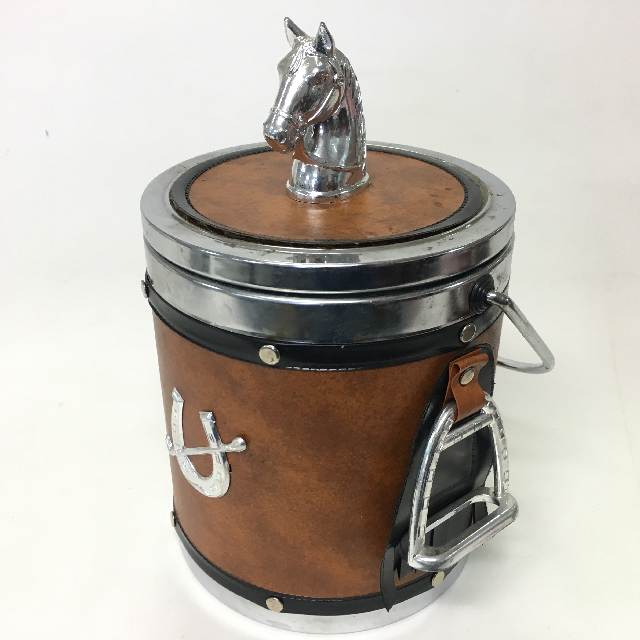 ICE0030 ICE BUCKET, Brown w Horse Detail $3.75