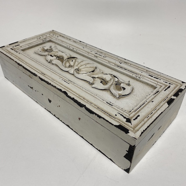 BOX0152 BOX, Off White Distressed Trinket or Jewel - Shabby Chic $7.50