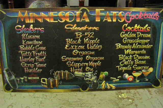 BLA0008 BLACKBOARD, Menu - Minnesota Fats $75