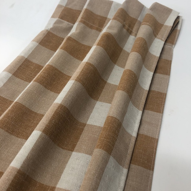 CAF0004 CAFE CURTAIN, Brown & Cream Check - 120cm Drop x 60cm W $18.75