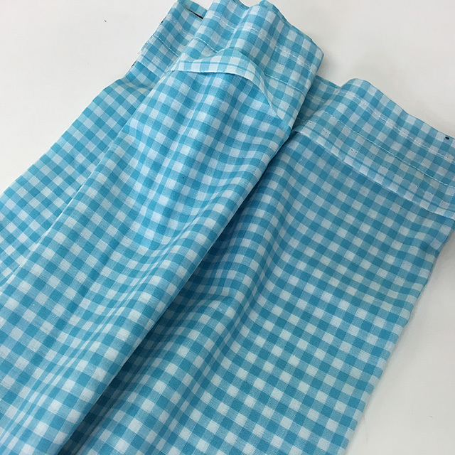 CAF0001 CAFE CURTAIN, Aqua Blue & White Gingham - 73cm Drop x 1.93cm W $18.75