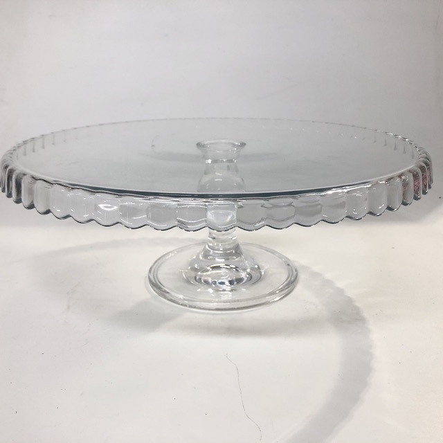 CAK0030 CAKE STAND, Glass Scalloped Edge $8.75