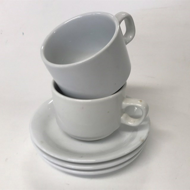 CRO0009 CROCKERY, Cup & Saucer (White Cafe Style) $2