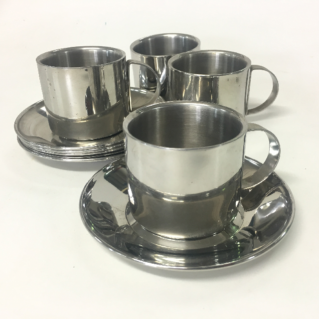 CUP0008 CUP & SAUCER, Coffee Or Cafe Style - Stainless Steel $2